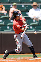 Catcher Bo Altobelli #5 of the Texas Tech Red Raiders swings against the Texas Longhorns on April 17, 2011 at UFCU Disch-Falk Field in Austin, Texas. (Photo by Andrew Woolley / Four Seam Images)