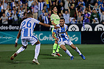 CD Leganes's Youssef En-Nesyri (L) and  Oscar Rodriguez (R) celebrate goal during La Liga match between CD Leganes and FC Barcelona at Butarque Stadium in Madrid, Spain. September 26, 2018. (ALTERPHOTOS/A. Perez Meca)
