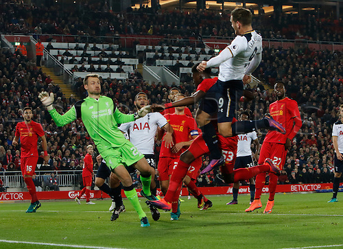 25.10.2016. Anfield, Liverpool, England. EFL Cup. Liverpool versus Tottenham Hotspur. Tottenham striker Vincent Janssen heads over at the far post from a Spurs free kick.