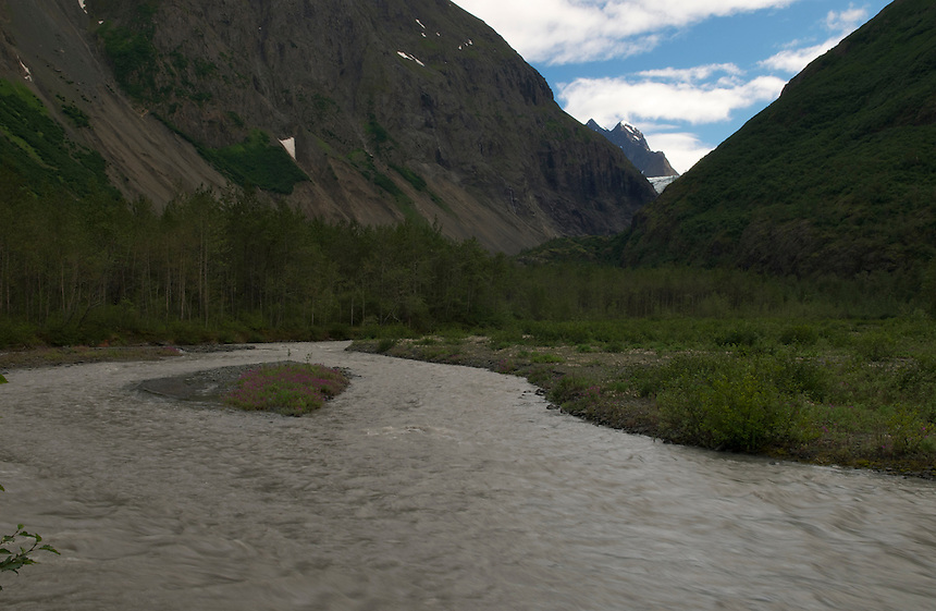 Eklutna Glacier in 2010, image taken by Ron Karpilo.  Eklutna Glacier is located in the Eklutna Lake area of Chugach State Park, Alaska, United States.