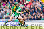 Adrian Royle Kilmoyley in action against Paud Costello Ballyduff in the County Senior Hurling Final at Austin Stack Park on Sunday.