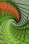 An abstract is created from a picture of a stairway. A picture of a stairway is given special treatment. A picture of a stairway is given special treatment.