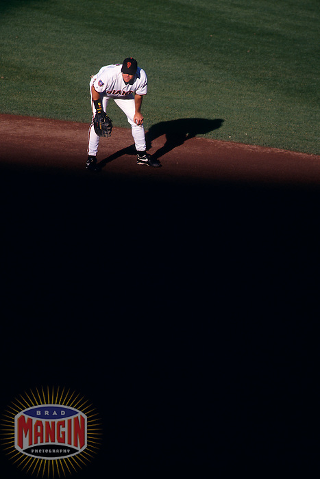 SAN FRANCISCO, CA - J.T. Snow of the San Francisco Giants plays defense at first base during a game at Candlestick Park in San Francisco, CA in 1997. Photo by Brad Mangin