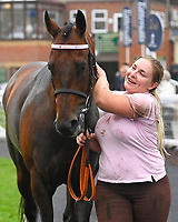 Bounty Pursuit and Lass after winning  The Shadwell Racing Excellence Apprentice Handicap Div 2 during Horse Racing at Salisbury Racecourse on 14th August 2019