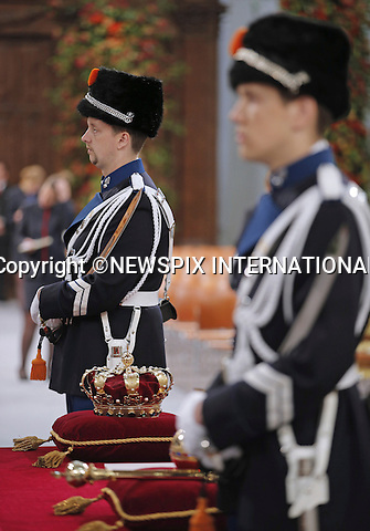 """30.04.2013; Amsterdam: KING WILLEM-ALEXANDER AND QUEEN MAXIMA.Inauguration ceremony for King Willem-Alexander at Nieuwe Kerk, Amsterdam, The Netherlands..Mandatory Credit Photos: ©Dejong/NEWSPIX INTERNATIONAL..**ALL FEES PAYABLE TO: """"NEWSPIX INTERNATIONAL""""**..PHOTO CREDIT MANDATORY!!: NEWSPIX INTERNATIONAL(Failure to credit will incur a surcharge of 100% of reproduction fees)..IMMEDIATE CONFIRMATION OF USAGE REQUIRED:.Newspix International, 31 Chinnery Hill, Bishop's Stortford, ENGLAND CM23 3PS.Tel:+441279 324672  ; Fax: +441279656877.Mobile:  0777568 1153.e-mail: info@newspixinternational.co.uk"""