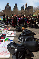 NEW YORK, NEW YORK - MARCH 8: Women interpret a scene of a murder in protest during the women's strike at Washington Sq Park for Women's Day in March 8, 2020. in New York. 3,500 women were killed for gender reasons in 25 countries in Latin America and the Caribbean in 2019. UN said. (Photo by Pablo Monsalve / VIEWpress via Getty Images)