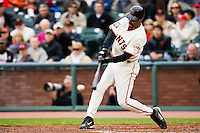 19 April 2007: Giants' Randy Winn connects for a hit during the San Francisco Giants 6-2 victory over the St. Louis Cardinals at the AT&T stadium in San Francisco, CA.