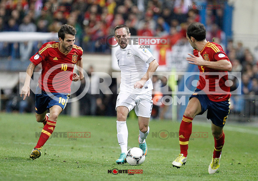 Spain's national team Cesc Fabregas against France's national team Franck Ribéry during match. October 16, 2012. (ALTERPHOTOS/Alvaro Hernandez) /NORTEPhoto