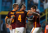 Calcio, Serie A: Frosinone vs Roma. Frosinone, stadio Comunale, 12 settembre 2015.<br /> Roma&rsquo;s Juan Iturbe, right, celebrates with teammates Radja Nainggolan, center, and Lucas Digne after scoring during the Italian Serie A football match between Frosinone and Roma at Frosinone Comunale stadium, 12 September 2015. Roma won 2-0.<br /> UPDATE IMAGES PRESS/Riccardo De Luca