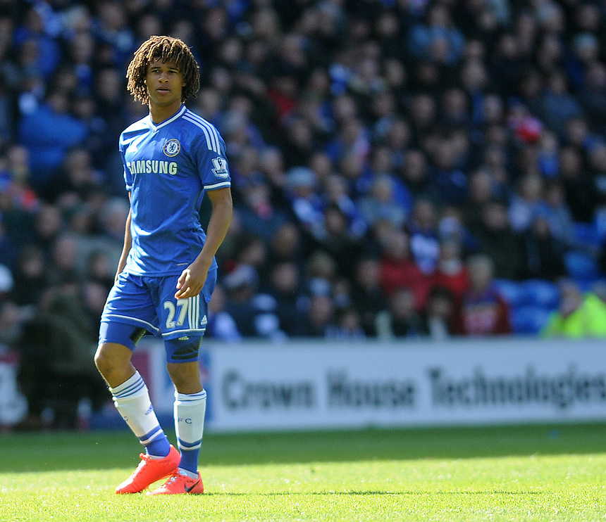 Chelsea's Nathan Ake in action during todays match  <br /> <br /> Photographer Ashley Crowden/CameraSport<br /> <br /> Football - Barclays Premiership - Cardiff City v Chelsea - Sunday 11th May 2014 - Cardifff City Stadium - Cardiff<br /> <br /> &copy; CameraSport - 43 Linden Ave. Countesthorpe. Leicester. England. LE8 5PG - Tel: +44 (0) 116 277 4147 - admin@camerasport.com - www.camerasport.com