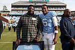 CHAPEL HILL, NC - NOVEMBER 18: UNC's Brandon Harris was honored as part of Senior Day pregame activities. The University of North Carolina Tar Heels hosted the Western Carolina University Catamounts on November 18, 2017 at Kenan Memorial Stadium in Chapel Hill, NC in a Division I College Football game. UNC won the game 65-10.