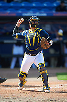Michigan Wolverines catcher Harrison Wenson (7) throws to first during the second game of a doubleheader against the Canisius College Golden Griffins on February 20, 2016 at Tradition Field in St. Lucie, Florida.  Michigan defeated Canisius 3-0.  (Mike Janes/Four Seam Images)