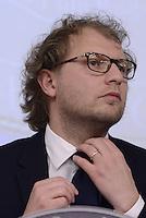 Roma, 17 Aprile 2015.<br /> Luca Lotti .<br /> Conferenza stampa a Palazzo Chigi per presentare le iniziative in occasione del 70°anniversario della guerra di Liberazione dal nazifascismo.