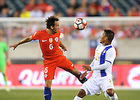 Philadelphia, PA - Tuesday June 14, 2016: Jose Pedro Fuenzalida, Amilcar Henriquez during a Copa America Centenario Group D match between Chile (CHI) and Panama (PAN) at Lincoln Financial Field.