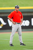 Frederick Keys manager Ryan Minor (53) coaches third base during the Carolina League game against the Winston-Salem Dash at BB&T Ballpark on May 28, 2013 in Winston-Salem, North Carolina.  The Dash defeated the Keys 17-5 in the first game of a double-header.  (Brian Westerholt/Four Seam Images)