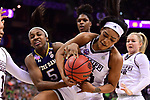 COLUMBUS, OH - APRIL 1: Jackie Young #5 of the Notre Dame Fighting Irish and Victoria Vivians #35 of the Mississippi State Bulldogs fight for a loose ball during the championship game of the 2018 NCAA Division I Women's Basketball Final Four at Nationwide Arena in Columbus, Ohio. (Photo by Ben Solomon/NCAA Photos via Getty Images)