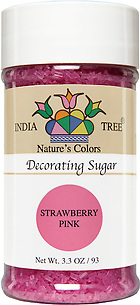 10257 Nature's Colors Strawberry Pink Decorating Sugar, Small Jar 3.3 oz, India Tree Storefront