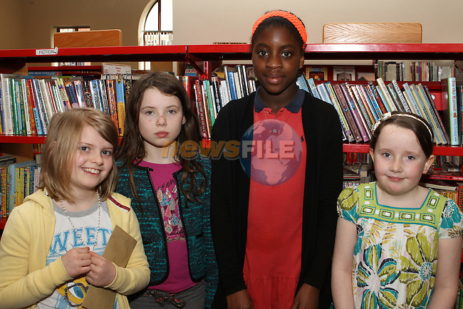 Aoife McLaughlin, Mara Mulligan, Divine Shitta and Bridget Purdy at the Roddy Doyle Book Awards in Drogheda Library...(Photo Jenny Matthews/www.newsfile.ie)