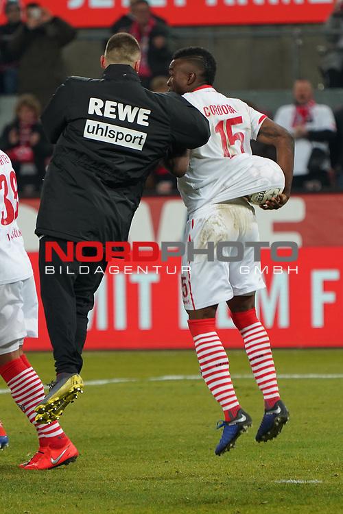 08.02.2019, RheinEnergieStadion, Koeln, GER, 2. FBL, 1.FC Koeln vs. FC St. Pauli,<br />  <br /> DFL regulations prohibit any use of photographs as image sequences and/or quasi-video<br /> <br /> im Bild / picture shows: <br /> Jhon C&oacute;rdoba (FC Koeln #15),   hat sich den Spielball gesichert<br /> <br /> Foto &copy; nordphoto / Meuter