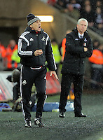 (L-R) Swansea head coach Francesco Guidolin and Crystal Palace manager Alan Pardew during the Barclays Premier League match between Swansea City and Crystal Palace at the Liberty Stadium, Swansea on February 06 2016