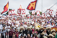 June 23, 2018: Supporters of Andres Manuel Lopez Obrador, an opposition candidate of MORENA party running for presidency (not-pictured), attend his campaign rally at Xanenetla park in Puebla City, Mexico. National elections will be hold on July 1.