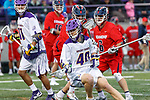 Kyle McClancy (#40) works against Jason Reynolds (#6) and the Richmond defense as UAlbany Men's Lacrosse defeats Richmond 18-9 on May 12 at Casey Stadium in the NCAA tournament first round.