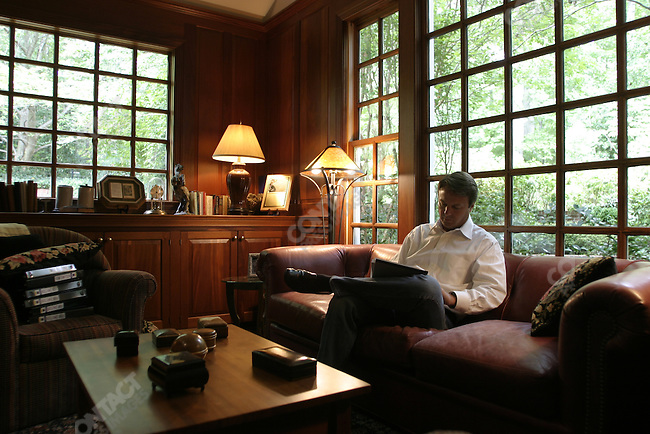 Sen. John Edwards, then Democratic Vice Presidential designate, works on his convention speech at the study in his suburban Raleigh home. July 26, 2004.