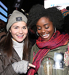 Phillipa Soo and Denee Benton attend The Ghostlight Project to light a light and make a pledge to stand for and protect the values of inclusion, participation, and compassion for everyone - regardless of race, class, religion, country of origin, immigration status, (dis)ability, gender identity, or sexual orientation at The TKTS Stairs on January 19, 2017 in New York City.
