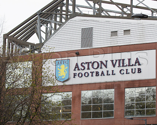 02.04.2016. Villa Park, Birmingham, England. Barclays Premier League. Aston Villa versus Chelsea.  View of the Aston Villa Football Club sign and emblem on the side of a stand outside Villa Park, home of Aston Villa Football Club.