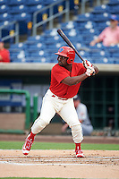 Clearwater Threshers designated hitter Josh Tobias (3) at bat during a game against the Lakeland Flying Tigers on August 5, 2016 at Bright House Field in Clearwater, Florida.  Clearwater defeated Lakeland 3-2.  (Mike Janes/Four Seam Images)