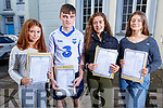 Ciara O'Sullivan (Castleisland), Enda O'Connor (Tralee), Sarah Horgan (Castleisland) and Catherine Duggan (Tralee) collecting their results of the Junior Cert in Gaelcholaiste Chiarrai on Wednesday morning.