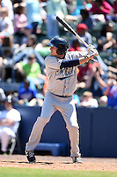 Mobile BayBears outfielder Tom Belza (11) at bat during a game against the Huntsville Stars on April 23, 2014 at Joe Davis Stadium in Huntsville, Tennessee.  Huntsville defeated Mobile 4-1.  (Mike Janes/Four Seam Images)