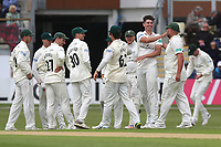 Josh Tongue of Worcestershire celebrates with his team mates after taking the wicket of Daniel Lawrence during Worcestershire CCC vs Essex CCC, Specsavers County Championship Division 1 Cricket at Blackfinch New Road on 11th May 2018