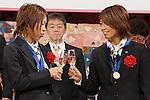 Azusa Iwashimizu (JPN), Kozue Ando (JPN), DECEMBER 27, 2011 - Football / Soccer : Azusa Iwashimizu and Kozue Ando of Japan attend Celebration party for FIFA Women's World Cup Champion at Tokyo Dome City in Tokyo, Japan. (Photo by Yusuke Nakanishi/AFLO SPORT) [1090]