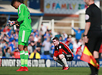 John Fleck of Sheffield Utd dejected during the championship match at St Andrews Stadium, Birmingham. Picture date 21st April 2018. Picture credit should read: Simon Bellis/Sportimage