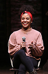 """Sasha Hollinger during a Q & A before The Rockefeller Foundation and The Gilder Lehrman Institute of American History sponsored High School student #EduHam matinee performance of """"Hamilton"""" at the Richard Rodgers Theatre on 3/20/2019 in New York City."""