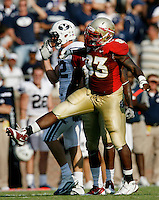 TALLAHASSEE, FL 9/18/10-FSU-BYU FB10 CH-Florida State's Everett Dawkins celebrates a tackle against Brigham Young during second half action Saturday at Doak Campbell Stadium in Tallahassee. The Seminoles beat the Cougars 34-10..COLIN HACKLEY PHOTO