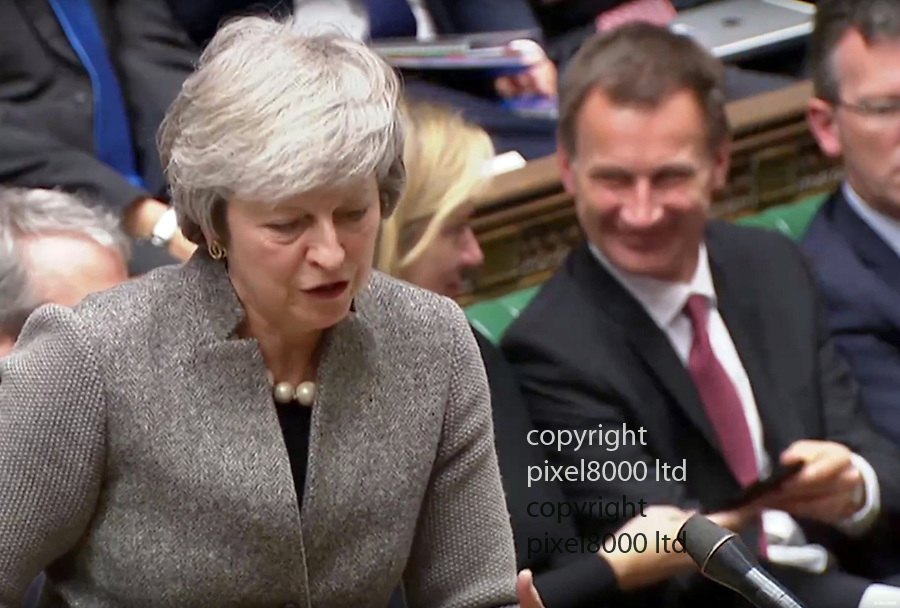 PM THERESA MAY statement in commons on Brexit 17.12.18<br /> <br /> Amber Rudd and Jeremy Hunt share a funny that was sent to Amber's phone. Hiunt took it laughed and gave it back.<br /> <br /> <br /> <br /> Picture by Pixel8000 07917221968