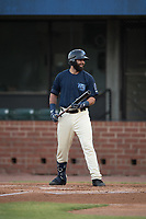 Mobile BayBears designated hitter Kaleb Cowart (26) at bat during a Southern League game against the Jacksonville Jumbo Shrimp on May 8, 2019 at Hank Aaron Stadium in Mobile, Alabama.  Jacksonville defeated Mobile 7-1.  (Mike Janes/Four Seam Images)