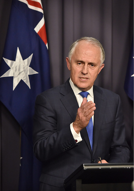 Malcolm Turnbull, Australia's incomingprime minister, speaks during a news conference after winning a party leadership ballot in Canberra, Australia, on Monday, Sept. 14, 2015. Photographer: Mark Graham/Bloomberg *** Local Caption *** Malcolm Turnbull
