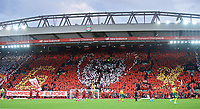 (190810) -- LIVERPOOL, Aug. 10, 2019 (Xinhua) -- Liverpool supporters form a mosaic of a European Cup before the English Premier League match between Liverpool and Norwich City at Anfield in Liverpool, Britain on Aug. 9, 2019. Liverpool won 4-1. (Xinhua) FOR EDITORIAL USE ONLY. NOT FOR SALE FOR MARKETING OR ADVERTISING CAMPAIGNS. NO USE WITH UNAUTHORIZED AUDIO, VIDEO, DATA, FIXTURE LISTS, CLUB/LEAGUE LOGOS OR LIVE SERVICES. ONLINE IN-MATCH USE LIMITED TO 45 IMAGES, NO VIDEO EMULATION. NO USE IN BETTING, GAMES OR SINGLE CLUB/LEAGUE/PLAYER PUBLICATIONS. (SP) BRITAIN-LIVERPOOL-FOOTBALL-ENGLISH PREMIER LEAGUE-LIVERPOOL VS NORWICH CITY PUBLICATIONxNOTxINxCHN  <br /> Foto Imago/Insidefoto <br /> ITALY ONLY<br /> Foto Imago/Insidefoto <br /> ITALY ONLY