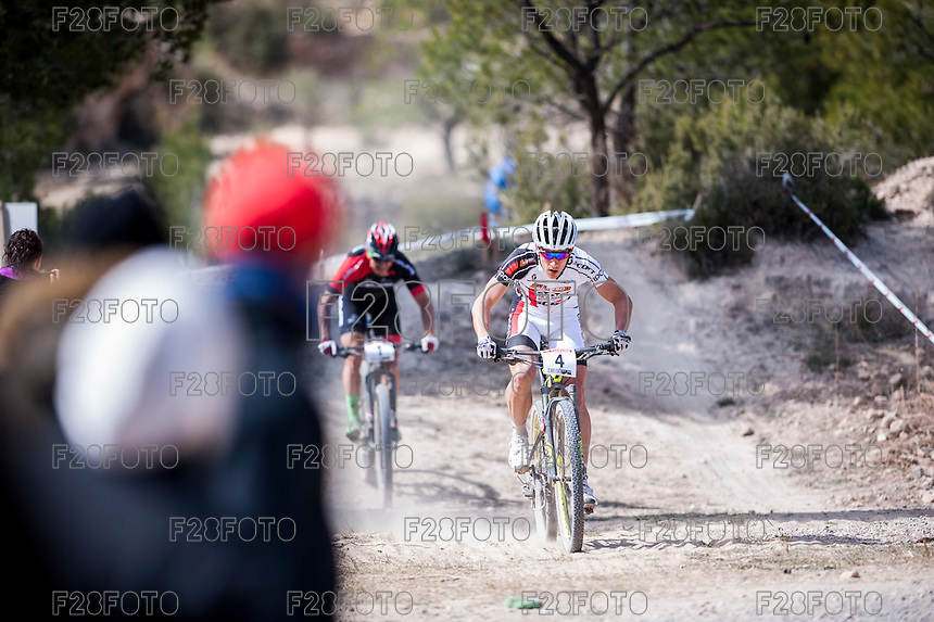 Chelva, SPAIN - MARCH 6: Hugo Drechou during Spanish Open BTT XCO on March 6, 2016 in Chelva, Spain