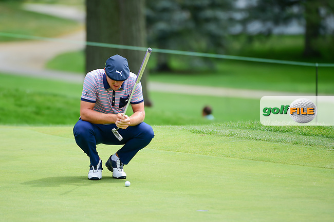 Bryson DeChambeau (USA) lines up his putt on 8 during Sunday's final round of the World Golf Championships - Bridgestone Invitational, at the Firestone Country Club, Akron, Ohio. 8/6/2017.<br /> Picture: Golffile | Ken Murray<br /> <br /> <br /> All photo usage must carry mandatory copyright credit (&copy; Golffile | Ken Murray)