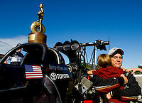 Sept. 6, 2010; Clermont, IN, USA; NHRA top fuel dragster driver Larry Dixon celebrates with his son after winning the U.S. Nationals at O'Reilly Raceway Park at Indianapolis. Mandatory Credit: Mark J. Rebilas-