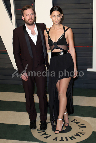 28 February 2016 - Beverly Hills, California - Lily Aldridge, Caleb Followill. 2016 Vanity Fair Oscar Party hosted by Graydon Carter following the 88th Academy Awards held at the Wallis Annenberg Center for the Performing Arts. Photo Credit: Byron Purvis/AdMedia