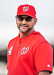 22 February 2019: Washington Nationals Manager Dave Martinez watches his team during a Spring Training workout at the Ballpark of the Palm Beaches in West Palm Beach, Florida. Mandatory Credit: Ed Wolfstein Photo *** RAW (NEF) Image File Available ***