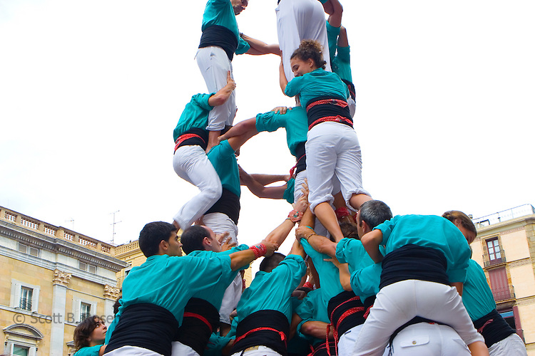 Castellers Competition during the La Merce Festival in Placa de Sant Jaume, Barcelona, Spain (Castellers de Barcelona Finale Festes La Merce 2006)