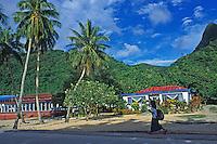 Villager walks in Vatia, Tutuila, American Samoa
