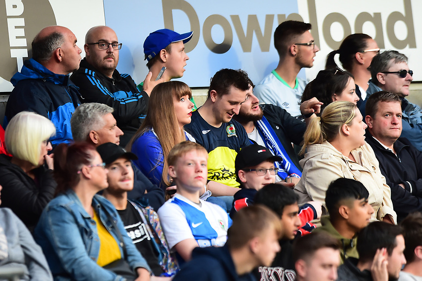 Blackburn Rovers fans look on<br /> <br /> Photographer Richard Martin-Roberts/CameraSport<br /> <br /> The Carabao Cup First Round - Tuesday 13th August 2019 - Blackburn Rovers v Oldham Athletic - Ewood Park - Blackburn<br />  <br /> World Copyright © 2019 CameraSport. All rights reserved. 43 Linden Ave. Countesthorpe. Leicester. England. LE8 5PG - Tel: +44 (0) 116 277 4147 - admin@camerasport.com - www.camerasport.com