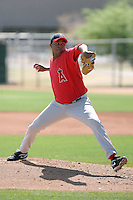 Suammy Baez #61 of the Los Angeles Angels plays in a minor league spring training game against the Arizona Diamodnbacks at the Angels minor league complex on March 17, 2011  in Tempe, Arizona. .Photo by:  Bill Mitchell/Four Seam Images.
